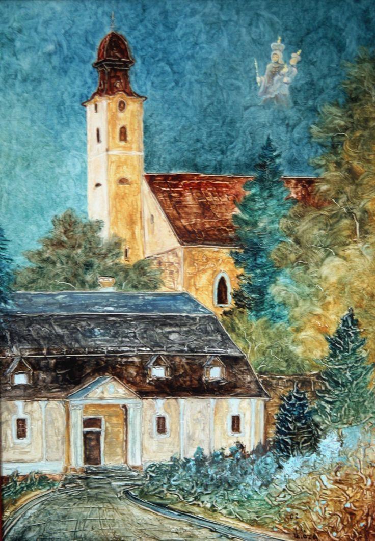 Pavel Móza - Nováky - Kostol sv. Kataríny, olej, 2002, 41x29 cm, cena - 600€
