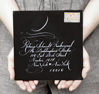 Great calligraphy on black square envelope by Mr Boddington's Studio http://www.mrboddington.com/