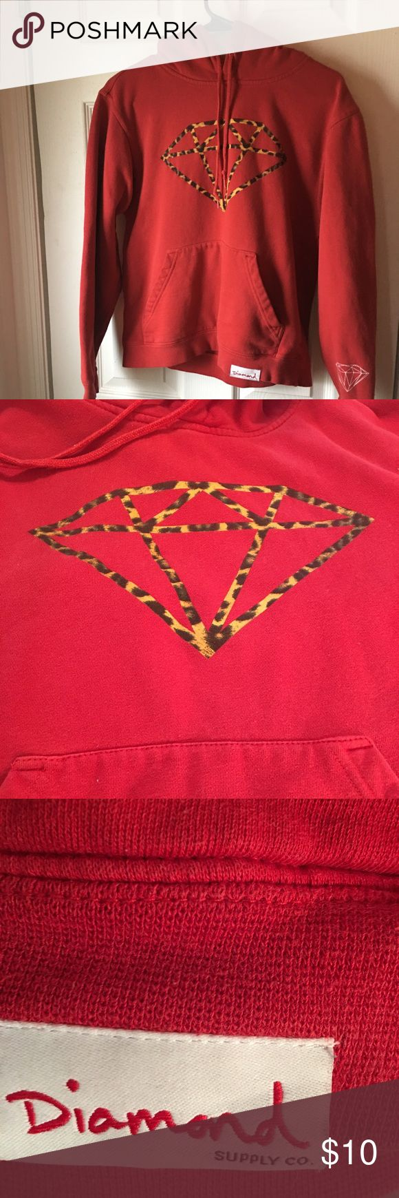 RED HOODIE W/ANIMAL PRINT DIAMOND. FRONT POUCH. SM This is a nice medium weight HOODIE. Quality material by Diamond Supply Company. Small Diamond Supply Co. Tops Sweatshirts & Hoodies