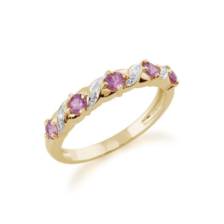 Yellow Gold 0.50ct Pink Sapphire & Diamond Half Eternity Ring