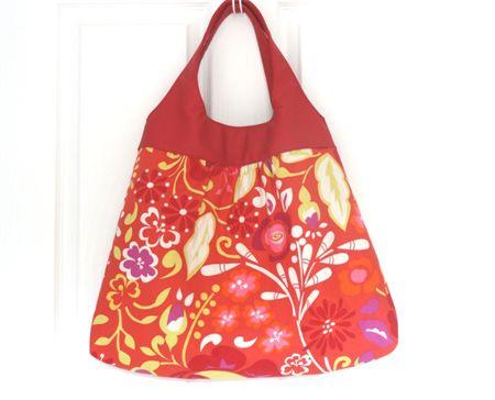 Large Red and Orange Floral Tote Shoulder Bag with Vinyl Handles