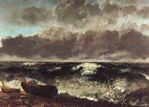 """Mare in tempesta"", Gustave Courbet, 1870; olio su tela, 117x150,5 cm; esposto al Museo d'Orsay, Parigi."
