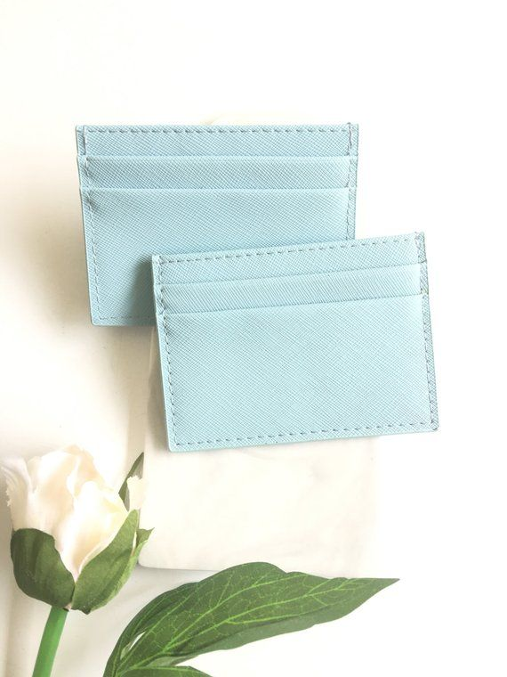 Personalized leather card holder, Customized card case, Genuine leather Credit card holder, Personalized gift for women – Sky blue