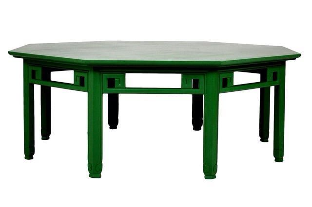 Green Asian Style Octogon Cocktail Table on Chairish.com