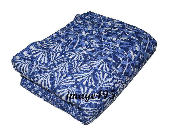 Kantha Quilt Floral Bedspread Cotton Handmade Blanket Blue Color Queen Bedcover #Handmade #Traditional