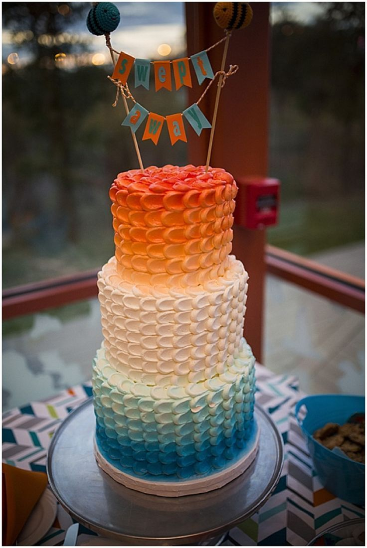 Colorful October Wedding Cake