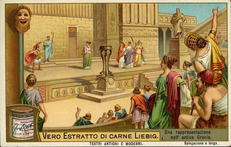 Una rappresentazione nell'antica Grecia, 1905. Pubblicità estratto di carne Liebig, Londra. Dalla serie di 6 figurine 'Teatri antichi e moderni'. Museo della Figurina, Modena.