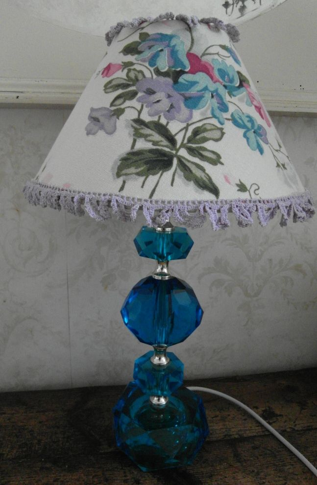 vintage blue glass lamp floral shade nostalgia at the stone house