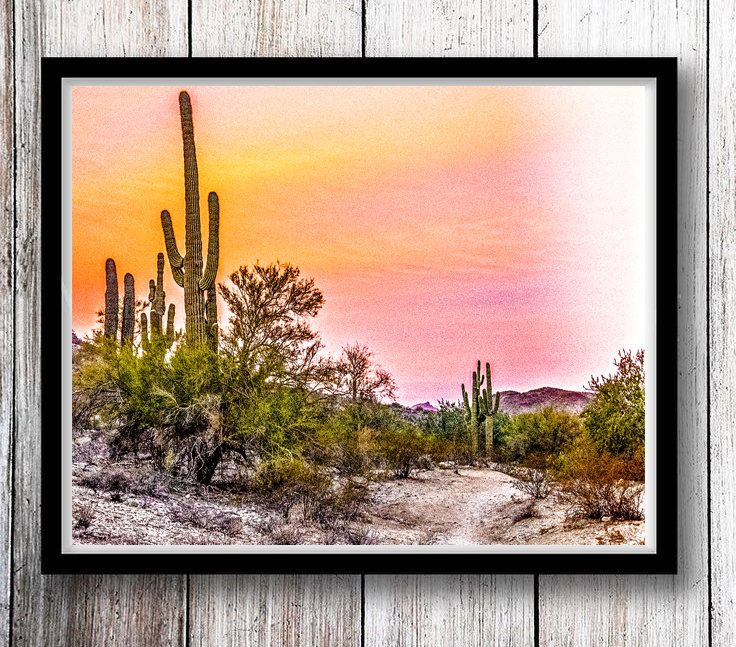 Printable Desert Wall Art -- Printable Cactus Decor -- Print at Home Southwestern Wall Decor - Printable Cactus Wall Art - DIY Desert Print