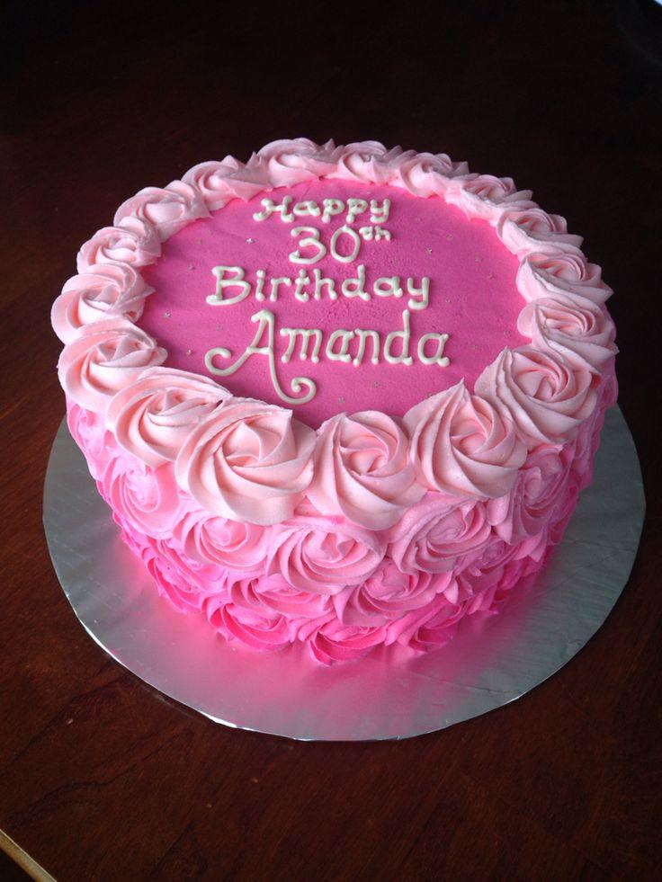 Pink ombré rosette birthday cake buttercream
