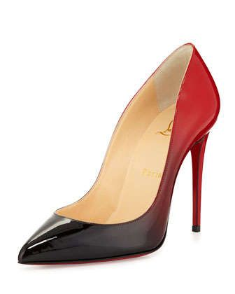 Pigalle Follies Degrade Red Sole Pump, Black/Red by Christian Louboutin at Neiman Marcus.