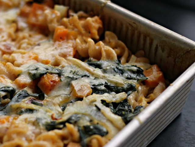 Bacon and Butternut Pasta with Kale and Caramelized Onions