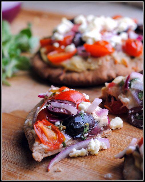 Greek Pita Pizzas | Greek Flavors | Pinterest