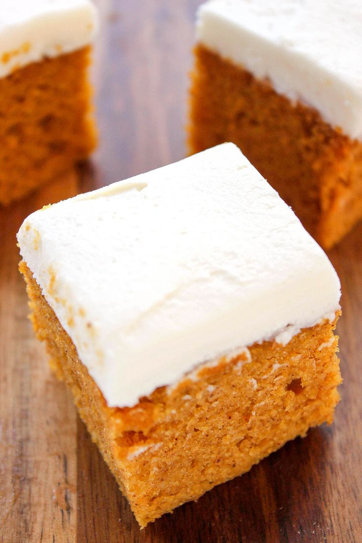 Pumpkin Sheet Cake With Cream Cheese Frosting: A melt in your mouth pumpkin cake topped with a sweet cream cheese frosting. Dump and bake, the easiest Thanksgiving around!