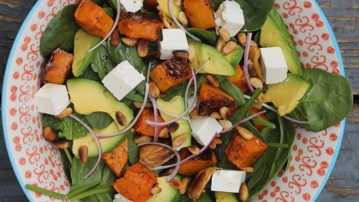 Roast Pumpkin, Feta and Pine Nut Salad
