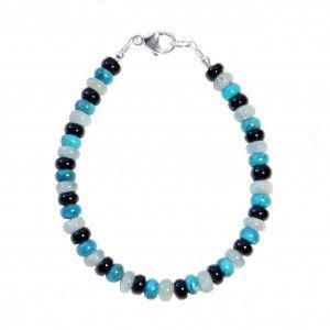 Bracelet Homme * Men's Bracelet Turquoise, Aigue-marine, Tourmaline noire