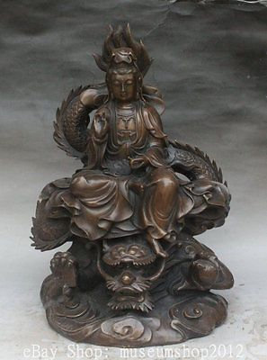 18-034-Chinese-Buddhism-Bronze-Ride-Dragon-GuanYin-Kwan-Yin-Boddhisattva-Statue
