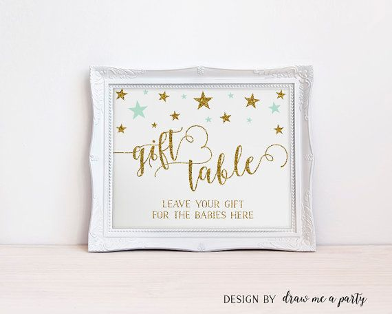 Twinkle Twinkle Little Star TWIN Baby Shower Sign , Gift Table Printable Sign , Mint and Gold Gift Table Sign , Mint Baby Shower Sign