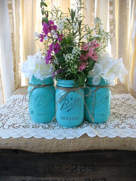 set of 4 pint mason jars painted mason jars rustic wedding centerpieces party decorations turquoise wedding