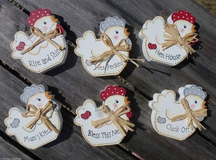 Wooden Polka Dot Chicken Hen Sign Plaque Country Dresser Kitchen Home Decor | eBay