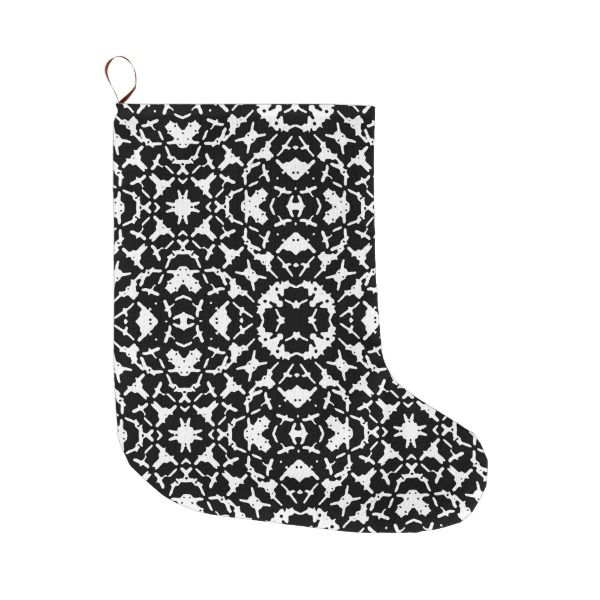 Black and White Geometric Pattern Large Christmas Stocking #stocking #christmas #sock #xmas