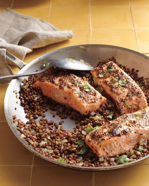 Mustard-Glazed Salmon with Lentils Recipe -- ready to eat in just 25 ...