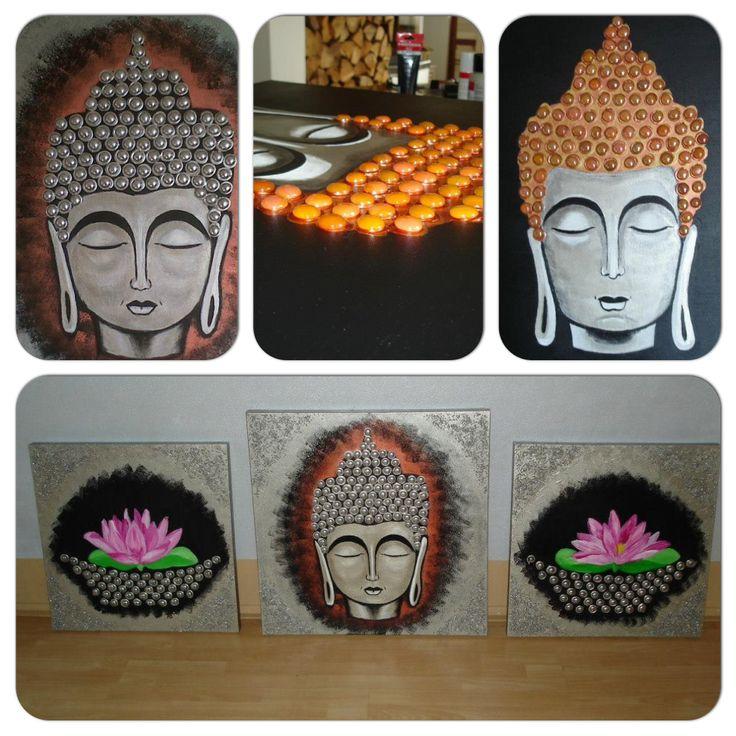 Buhdda serie, 70x70 cm, acrylverf, gedecoreerd met steentjes. Lotusbloemen 50x50 cm, acrylverf