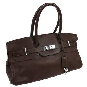 953c1471fbce Authentic HERMES SHOULDER BIRKIN Shoulder Bag Moka Clemence Vintage SHW  N00744