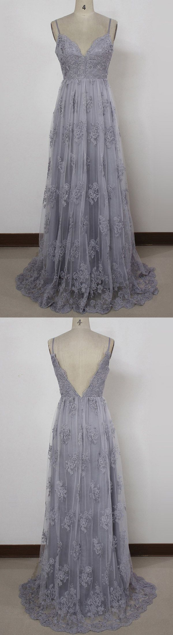 Grey Prom Dresses Long, Lace Party Dresses A-line, Sexy Evening Gowns V-neck, Country Prom Dresses for Teens