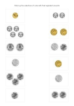 This product is part of my Australian Money BUNDLE!Match up the collections of coins with their equivalent amounts. I use this worksheet as a quick way to gain prior knowledge on what students already know about adding up collections of coins and then again after I have completed my unit on money.Thanks for downloading my product!
