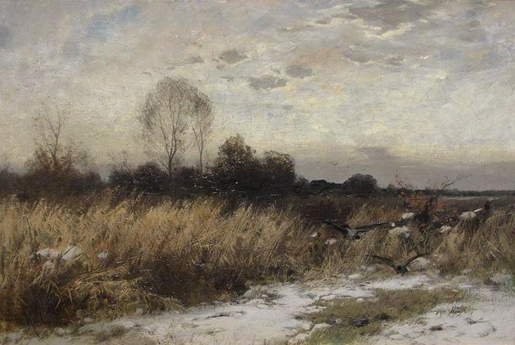Krajobraz zimowy z wronami