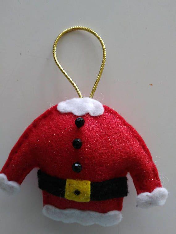 Fait à la main en feutrine Santa costume/laid pull ornement 3
