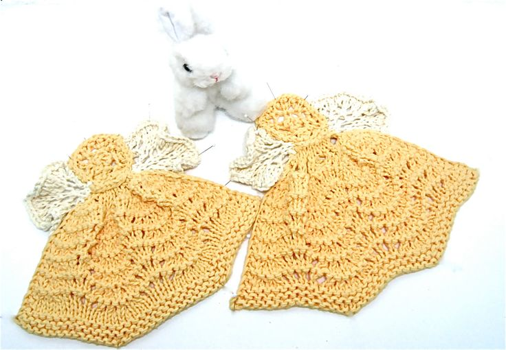 Guardian Angel two sizes & two colors of yellow baby or adult dish or washcloths organic cotton - pinned by pin4etsy.com
