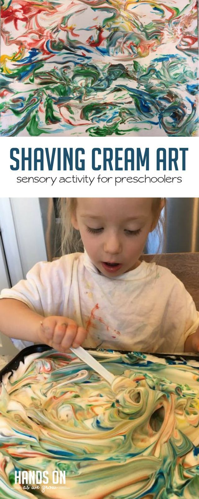 Help your child explore their inner artist with this shaving cream sensory activity! With an easy set up and fun art project, your preschooler will love this activity.