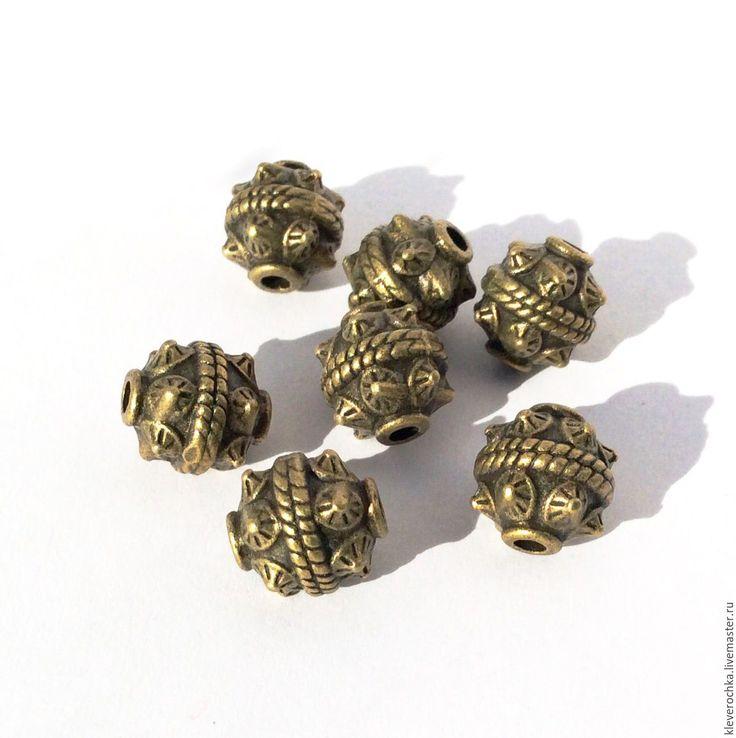 Купить Бусины 10,5 мм цвет бронза металл для украшений - латунь фурнитура бусины