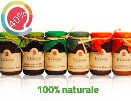 Selezione di confetture di frutta (75%) con tutto il buon sapore della frutta fresca appena raccolta: fragola, kiwi, pesca piatta, susine, pera, mela. Confezionate in bellissimi vasetti perfetti anche da regalare.