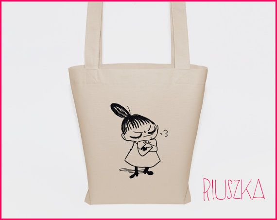 Little my tote bag moomins bag cotton tote canvas bag by RIUSZKA