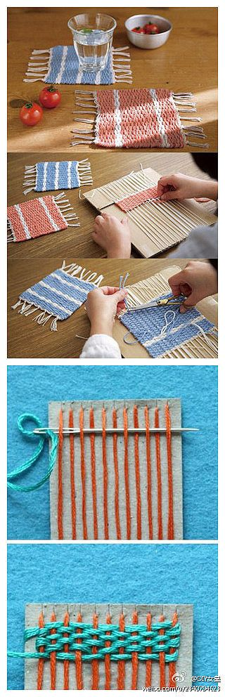 Weaving placemats or coasters with cardboard and yarn or embroidery floss. school holiday project.