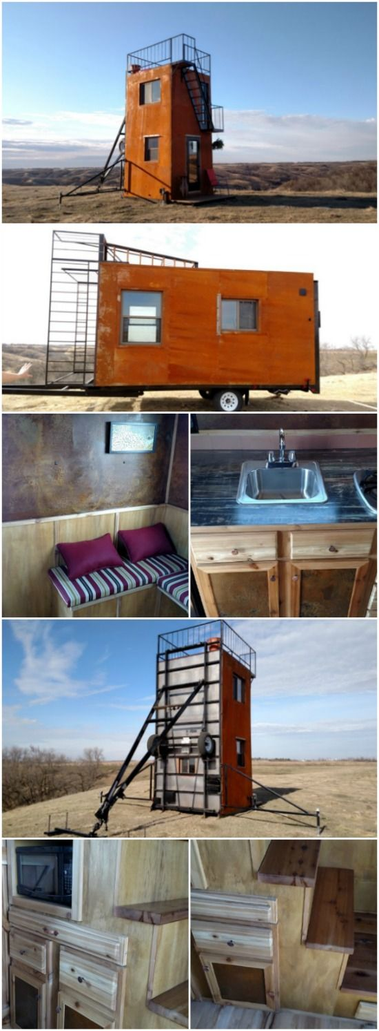 Shipping container homes living for the future earth911 com - The Tilting Tower Tiny House That Can Be Pulled By Shipping Container