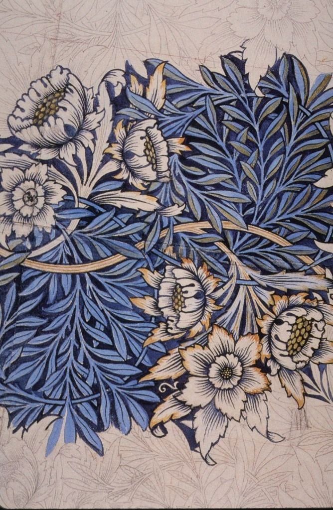 "Design for ""Tulip and Willow"" wallpaper (1873) by English textile designer William Morris (1834-1896). Indigo-discharge wood-block printed fabric. via wikipedia"