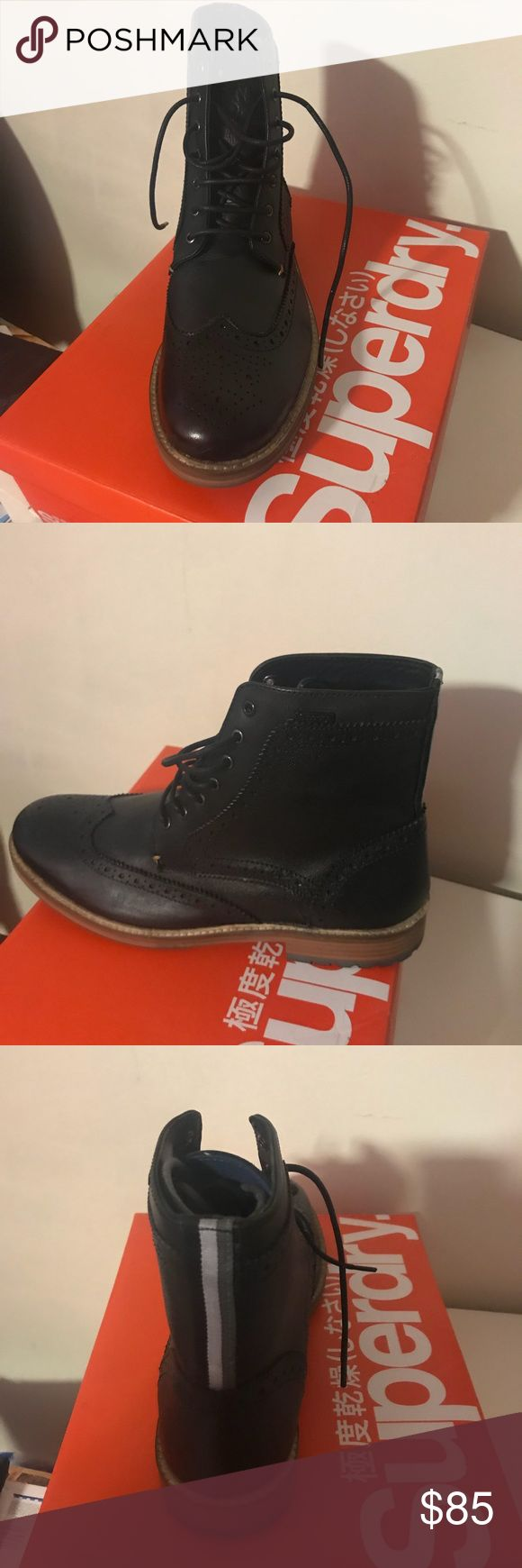 Black SuperDry Boots size 11 Blacks boots by Super Dry. Listed as a US size 12 fits like 11. Never worn. Brand new. Perfect condition. Paid $100.00 selling for $85.00 Super Dry Shoes Ankle Boots & Booties