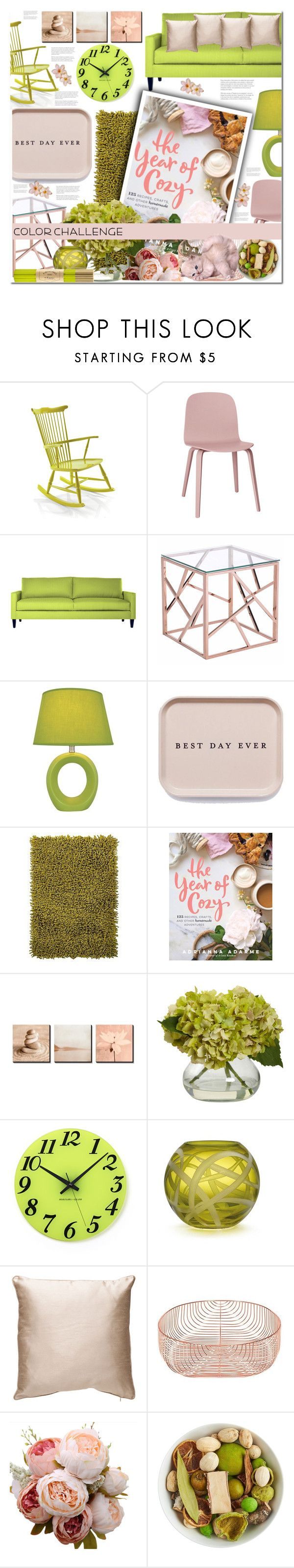 """Green and Blush!!!!"" by sweta-gupta ❤ liked on Polyvore featuring interior, interiors, interior design, home, home decor, interior decorating, Muuto, Zuo, Lite Source and Chandra Rugs"