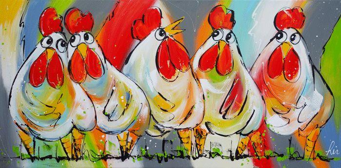 kippenschilderij www.vrolijkschilderij.nl