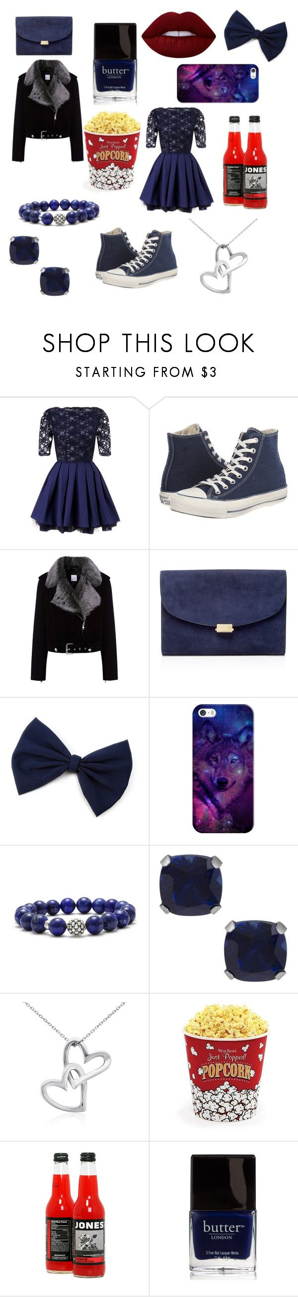 """""""Navy Blue Movie date"""" by candy-girl-03 on Polyvore featuring Lipsy, Converse, La Bête, Mansur Gavriel, Casetify, Lagos, Jewel Exclusive, Blue Nile, West Bend and Butter London"""