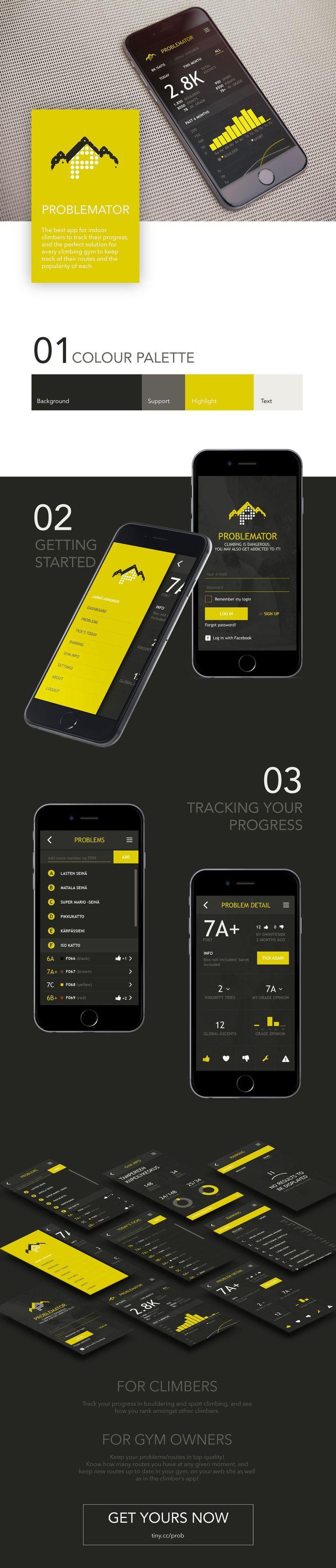 Problemator // mobile app to track climbers progress. www.sabrinaseidl.com #bouldering #climbing #sport