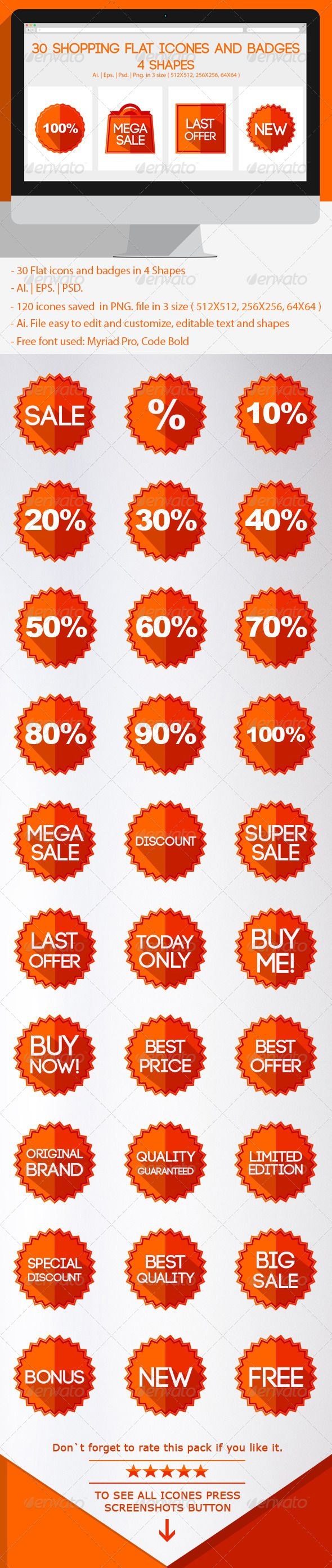 Shopping Flat Icons and Badges  Buy it here  http://graphicriver.net/user/DenisBors/portfolio?ref=DenisBors