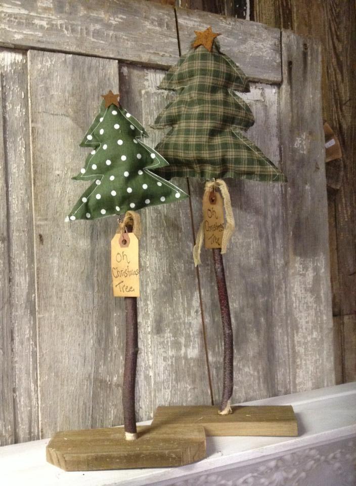 Table top fabric christmas trees, polka dot christmas tree, primitive Christmas tree