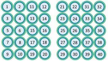 Editable circle labels numbered 1-40 (sea foam diagonal mini-stripes). Can be used to label student cubbies, coat racks, files, etc.