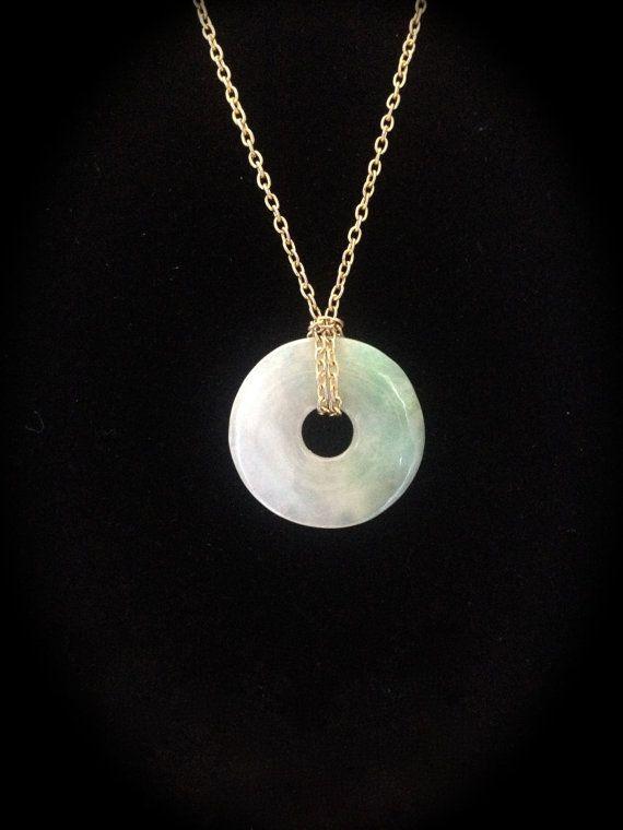 Vintage jade donut ring pendant. by NewVintageShoppe on Etsy