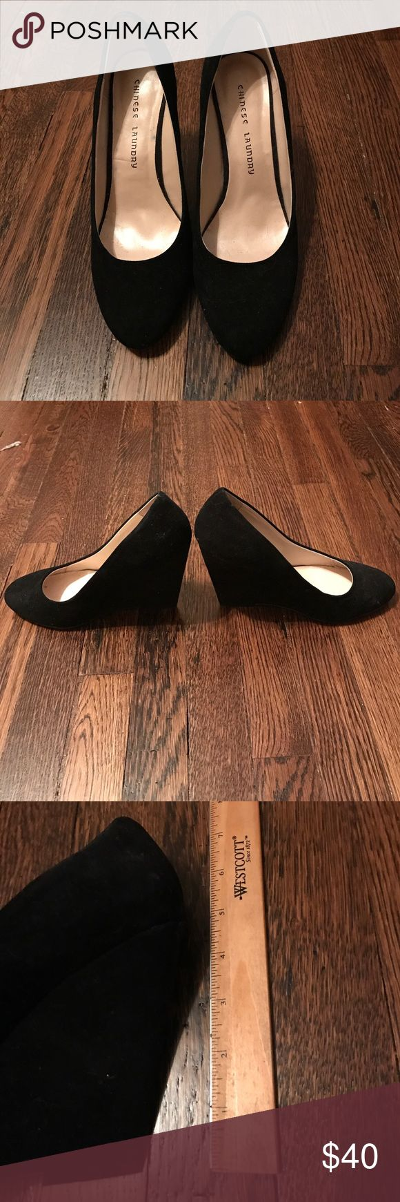 Chinese Laundry- suede, 5 in, black wedges NWOT Chinese Laundry- suede, 5 in, black wedges SZ 10 NWOT.  Offers are welcome 😊 Chinese Laundry Shoes Wedges